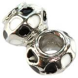 modular beads black-silver flowers vases 9 x 13 mm