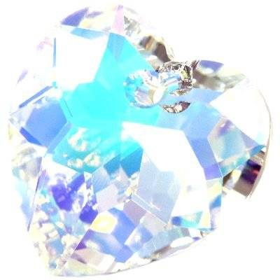 Swarovski heart pendants crystal ab 18 mm