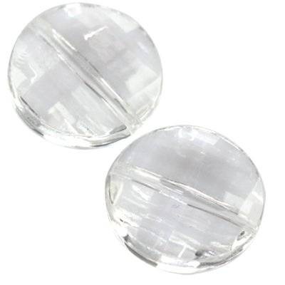 faceted transparent flat round beads 20 mm