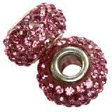 koraliki modułowe caramballa różowe kryształki 14 mm