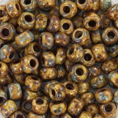 Perline Miyuki round opaque picasso brown 6/0 #6-4517