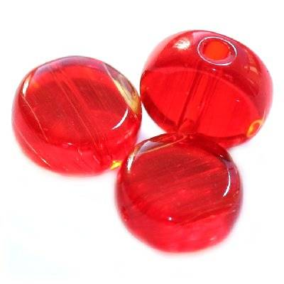 glass beads flat red 6 mm