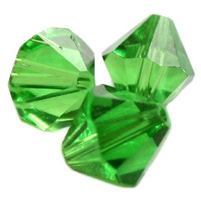 glass bicone hand cut green 10 mm