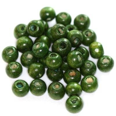 round wooden beads dark green 7 x 8 mm