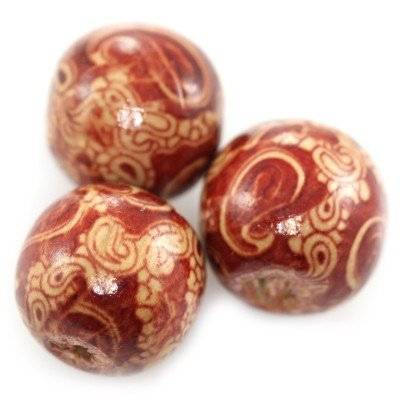 round wooden beads ivy 16 mm