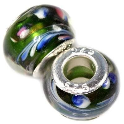 koraliki modułowe pawie oczka zielone z błękitem 9 x 14 mm