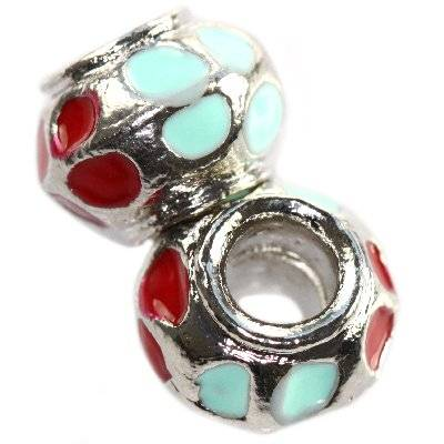 modular beads red-blue flowers vases 9 x 13 mm