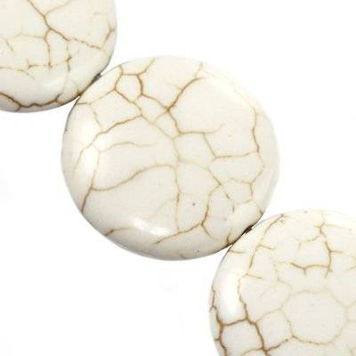 turquoise coins white 25 mm / semi-precious stone synthetic