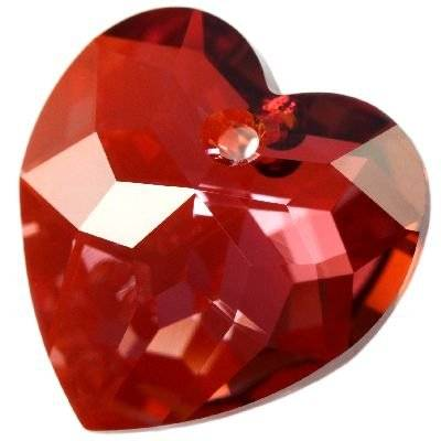 Swarovski heart pendants crystal red magma 18 mm