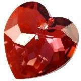 Swarovski heart pendants crystal red magma 18 mm