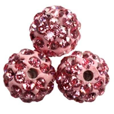 fimo round caramballa rhinestones pink 8 mm