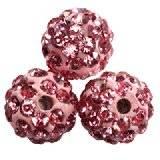 abalorios fimo bolas caramballa cristales rosas 8 mm