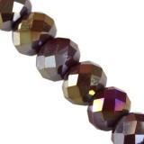 Kryształki CrystaLine rondelle dark amethyst AB 6 x 8 mm
