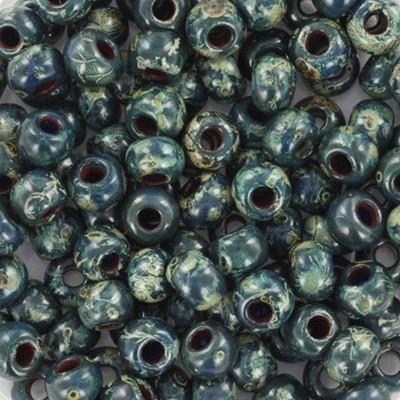 Miyuki round beads opaque picasso dark teal 6/0 #6-4516