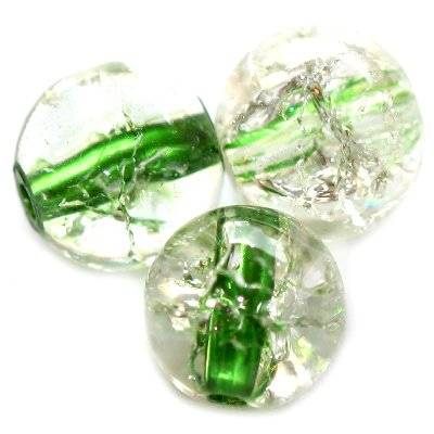 crackle beads beads green color inside 12 mm