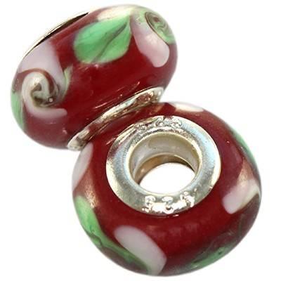 perles modulaires brunen feuille verte 9 x 14 mm