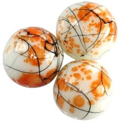 glass beads painted threads mandarin 14 mm