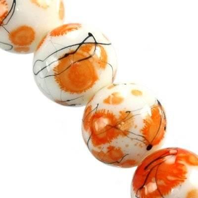 glasparels geschilderde draden mandarijn 14 mm
