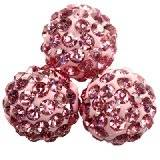 perline fimo sfere caramballa rosa cristalli 10 mm