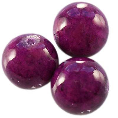 marble beads dyed amethystine 12 mm / natural stone dyed