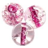 crackle beads beads pink color inside 12 mm
