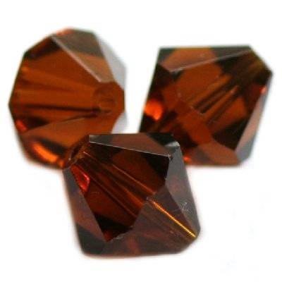 glass bicone hand cut brown 10 mm