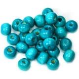 bolas de madera turquesas 7 x 8 mm