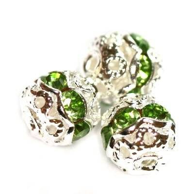 spacers beads with zircons emerald 6 mm