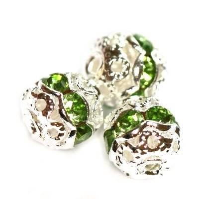distanziali sfere con zirconi smeraldo 6 mm