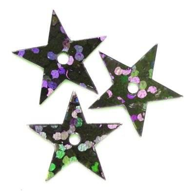 sequins laser stars black 13 mm