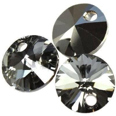 Swarovski rivoli pendants crystal silver night 6 mm