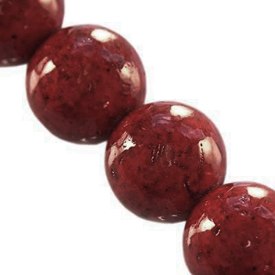 marble beads dyed red 6 mm / natural stone dyed