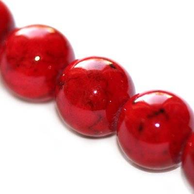 marble round beads dyed red 6 mm / natural stone dyed