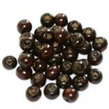 round wooden beads dark brown 7 x 8 mm