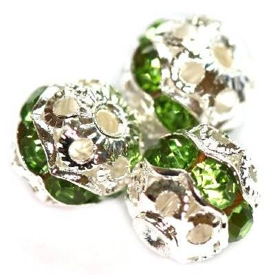 spacers beads with zircons emerald 8 mm
