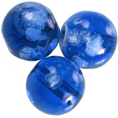 glass beads galactic transparent sapphire 14 mm