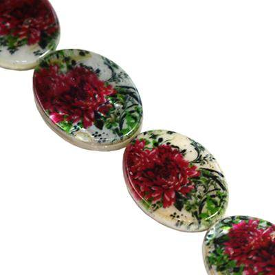 mother of pearl oval peonies 13 x 18 mm