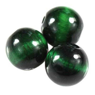 zielone tygrysie oko 8 mm kamień półszlachetny naturalny barwiony
