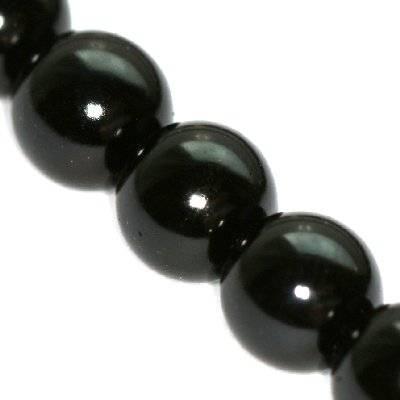 szklane perełki czarne 10 mm