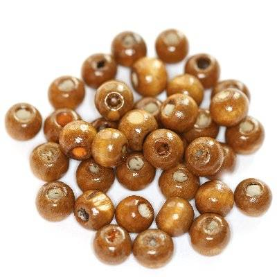 round wooden beads light brown 7 x 8 mm