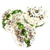spacers beads with zircons emerald 10 mm
