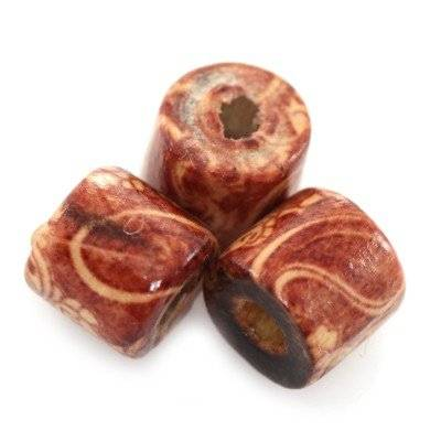 barrels wooden beads ivy 9 x 10 mm