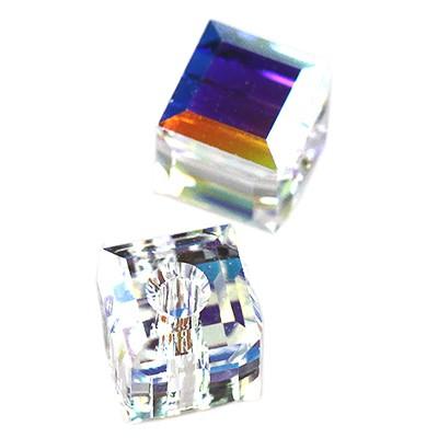 Swarovski cube crystal ab'b 4 mm