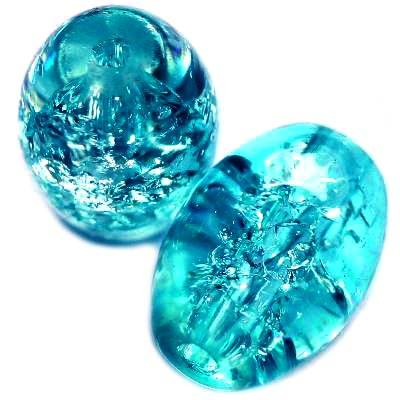 perles de crépitement ovales bleu 10 x 14 mm