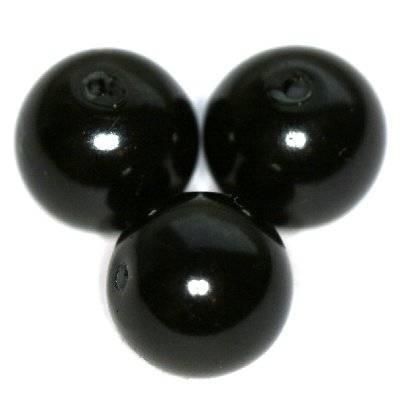 perles de verre noir 12 mm