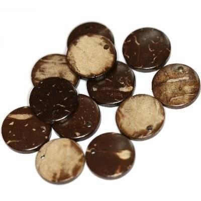 coconut beads round small natural brown 10 mm