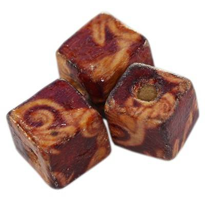 cubes wooden beads ivy 9 mm