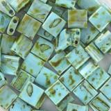 Miyuki tila opaque picasso turquoise blue 5 mm #TL-4514