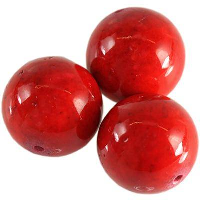 marble beads dyed red 12 mm / natural stone dyed
