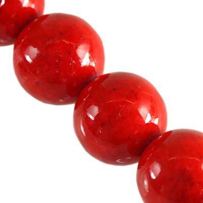 round beads marble dyed red 12 mm